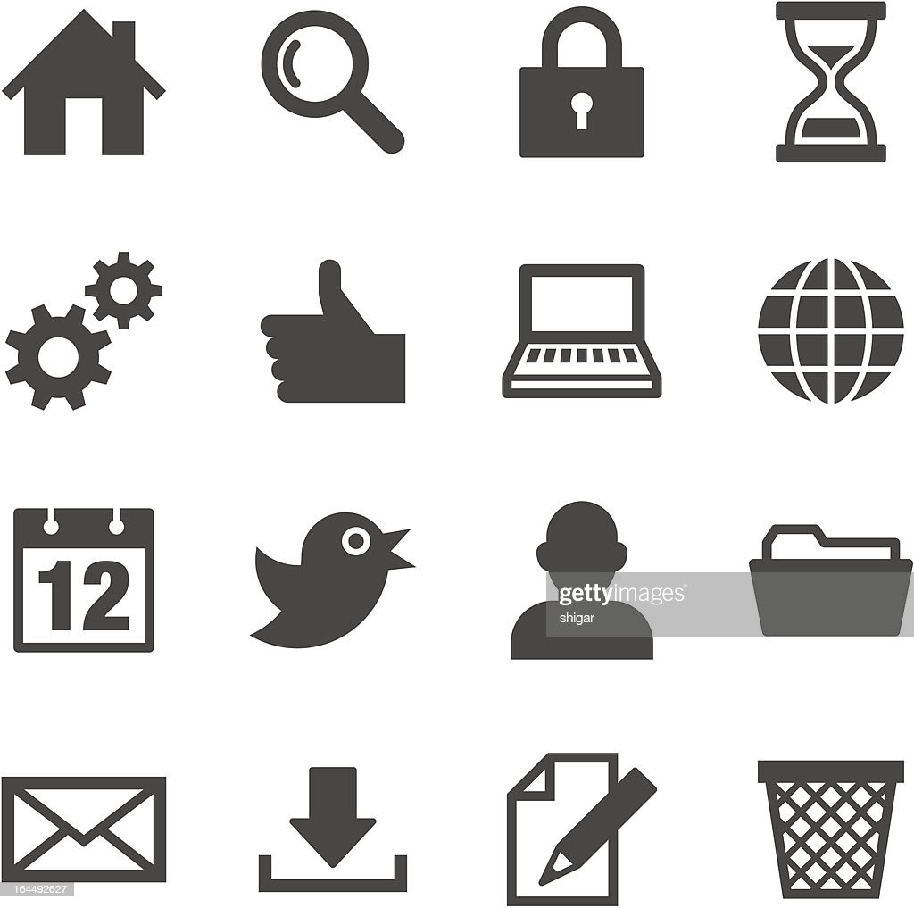 A set of black and white web icons