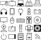 Set of black and white web icons