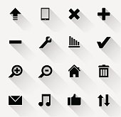 Set of black and white web icons with long shadows.
