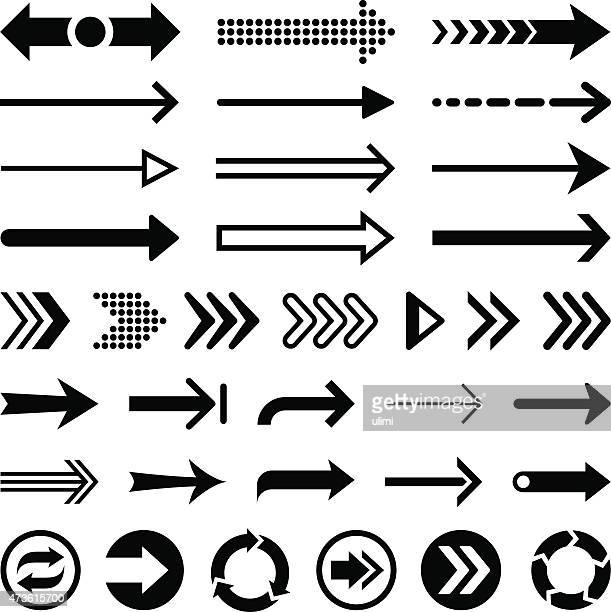 Set of black arrow designs on a white background
