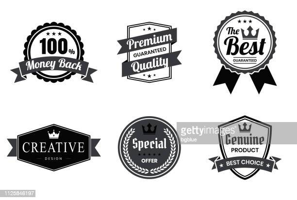 set of black badges and labels - design elements - shield stock illustrations