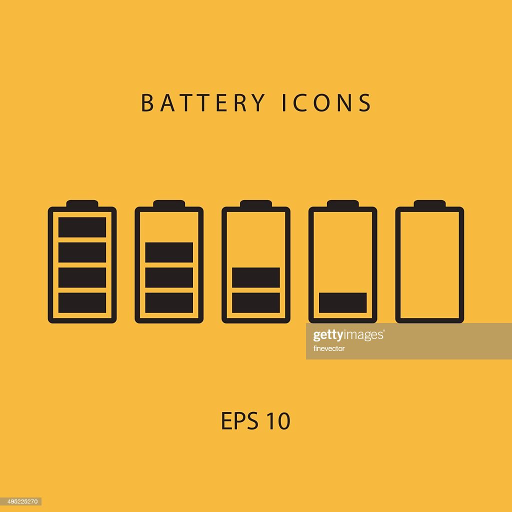 Set of black battery icons.