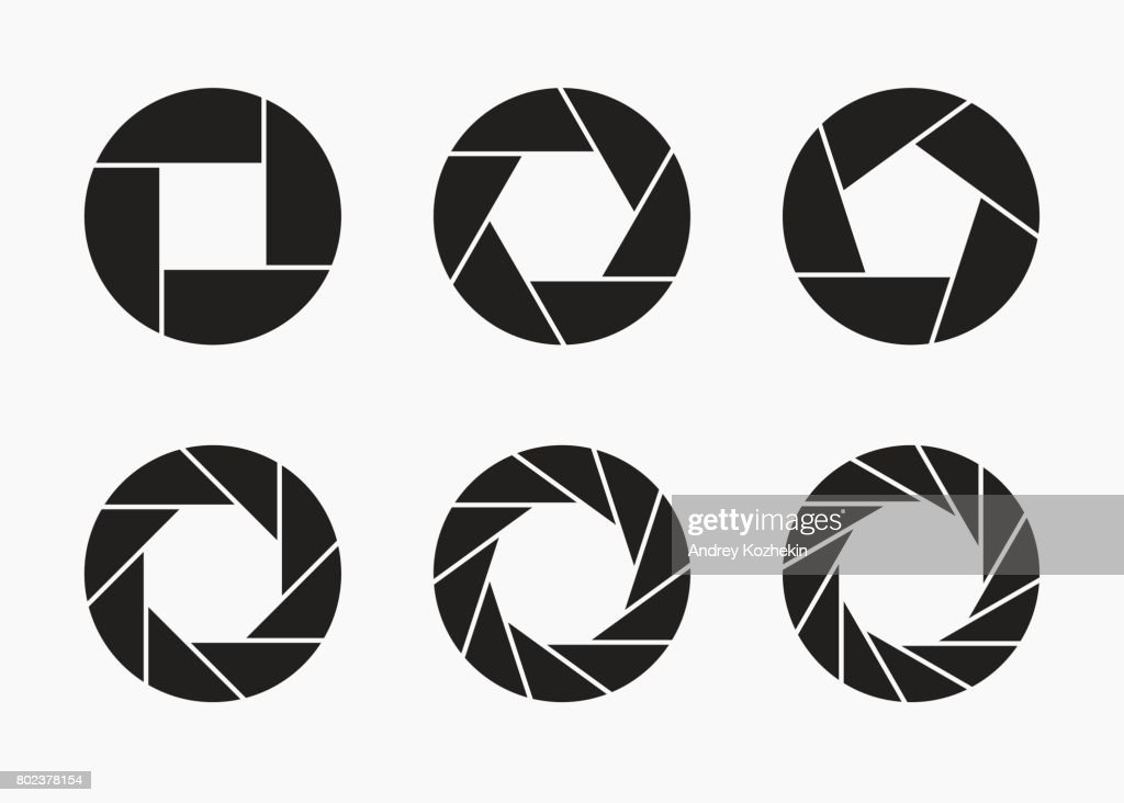 Set of black camera lens aperture icons.