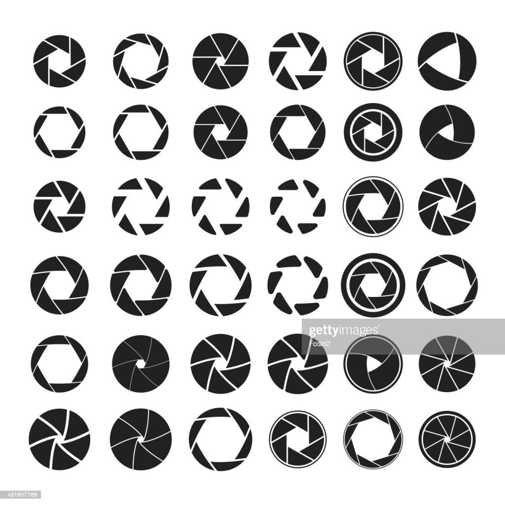 Set of black camera shutter icons on white background