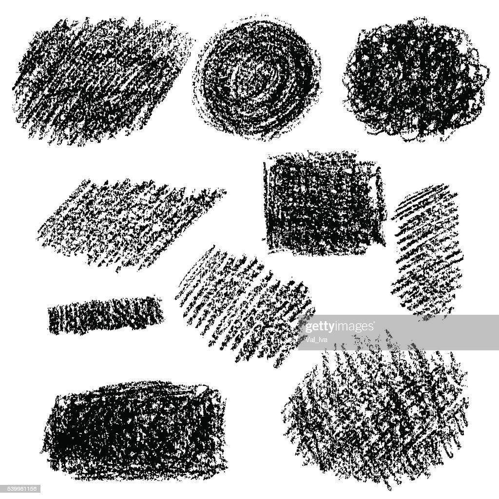 Set of black chalk texture.