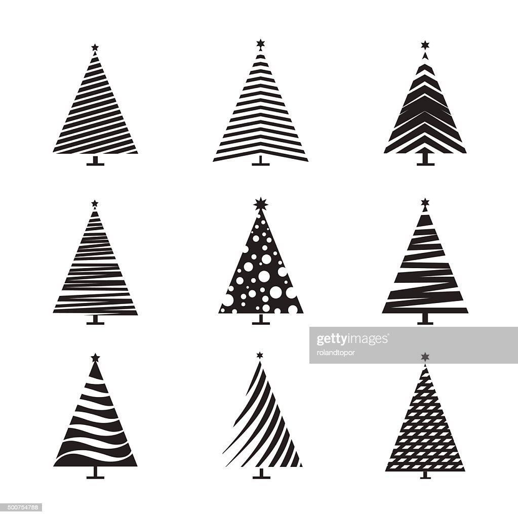 Set of Black Christmas Tree. Vector Illustration and Icons