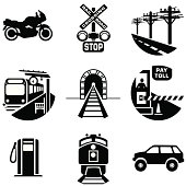 Set of black commuting and transportation icons