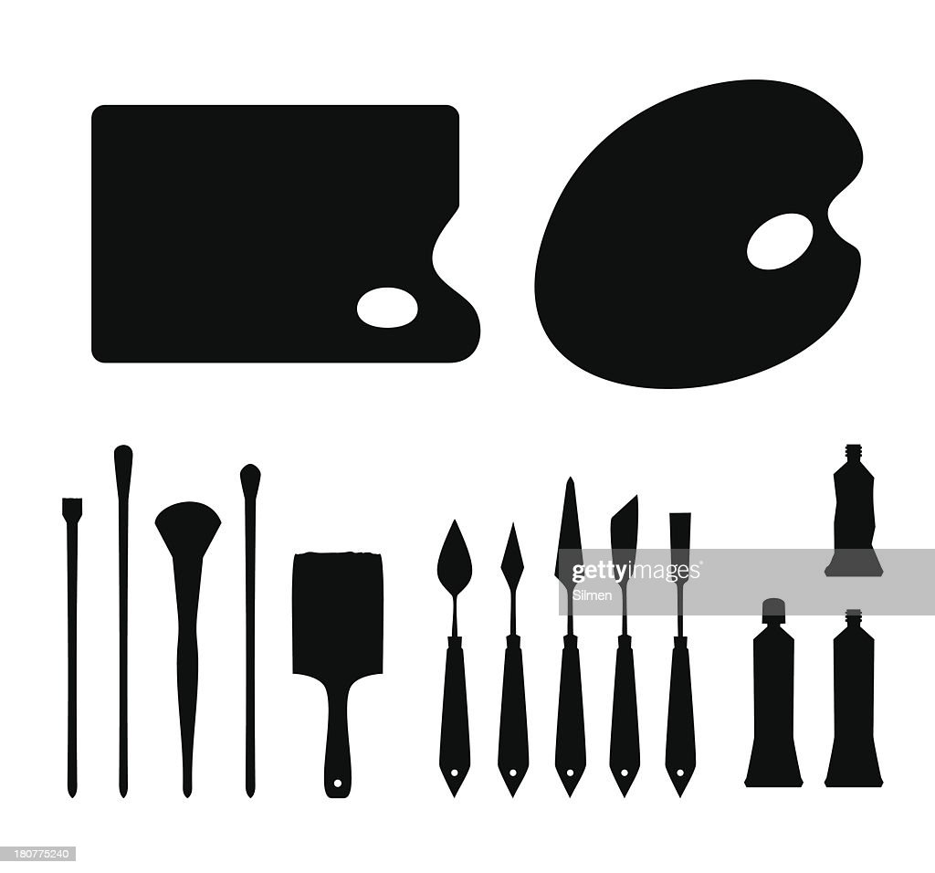 Set of black contour artistic instruments silhouettes