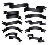 Set of black curved ribbon or banner