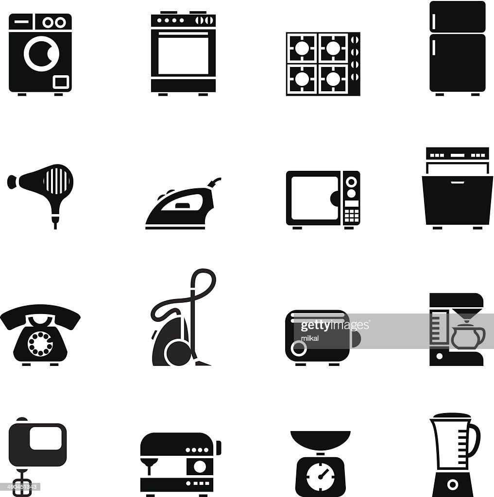 Set of black domestic appliances icons