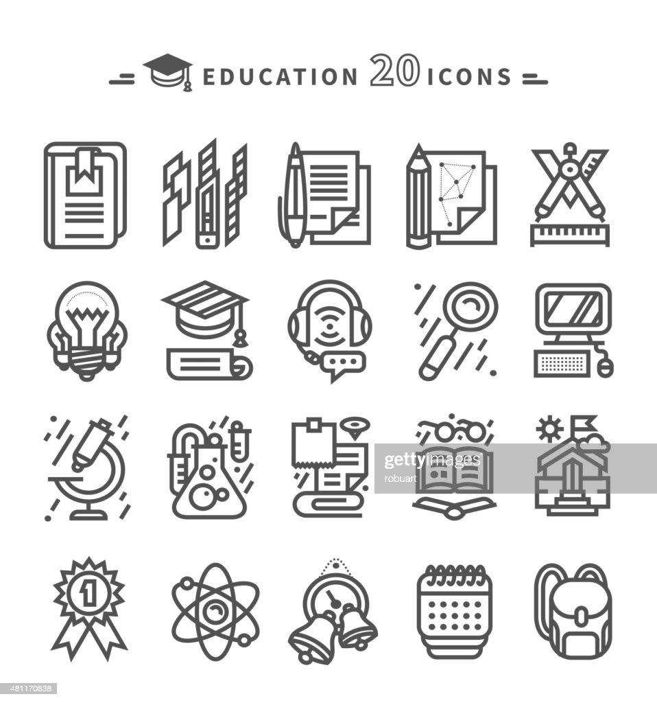 Set of Black Education Icons on White Background