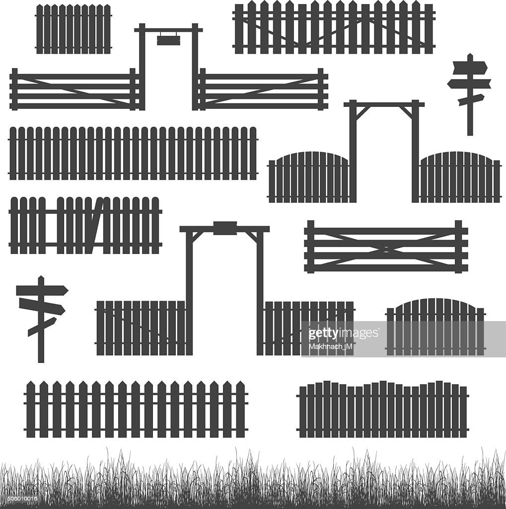 Set of black fences with gates