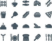 Set of black food icons