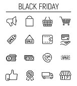 Set of black friday icons in modern thin line style.