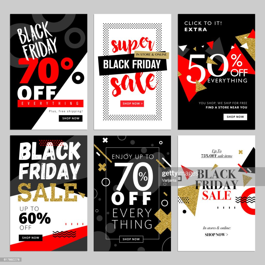 Set of Black Friday mobile sale banners