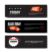 Set Of Black Friday Sale Template Horizontal Banners With Copy Space