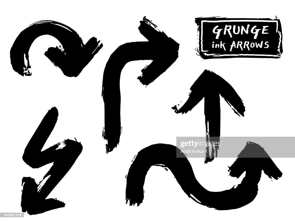 Set of black grungy vector  hand paint ink brush arrow. Grunge stroke curve line on White background. Chinese calligraphy style graffiti frame