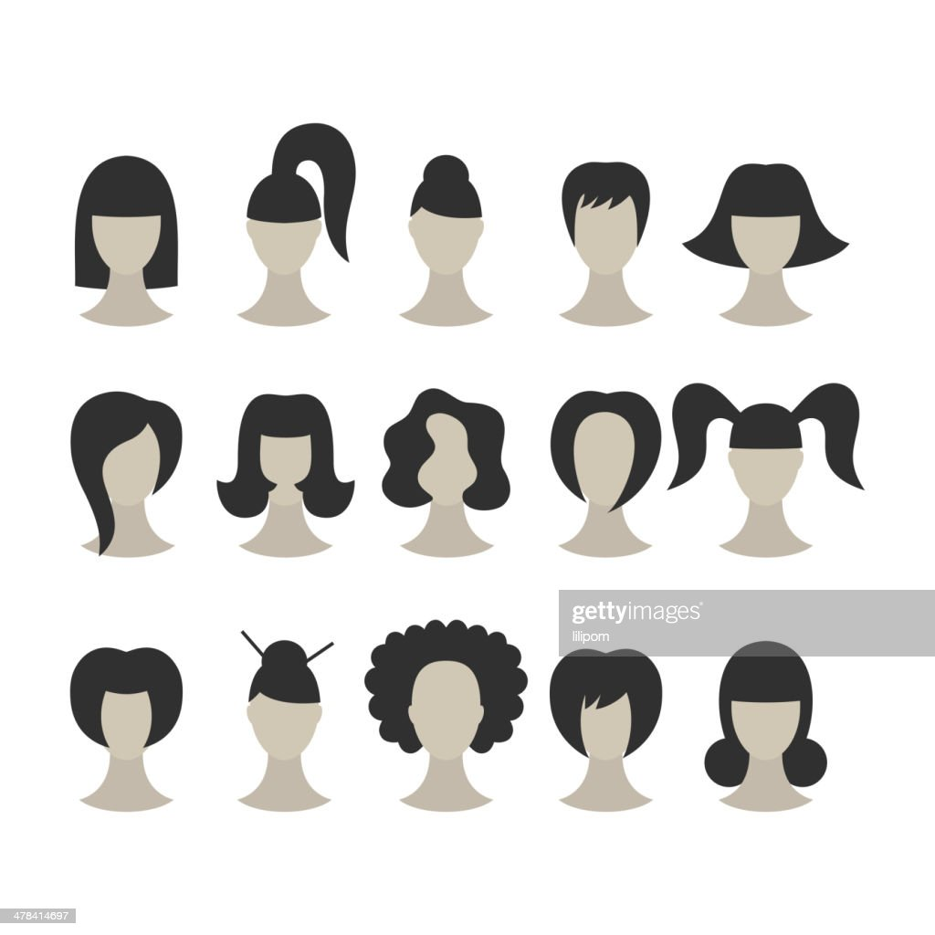 Set of black hairstyles for woman isolated on white background