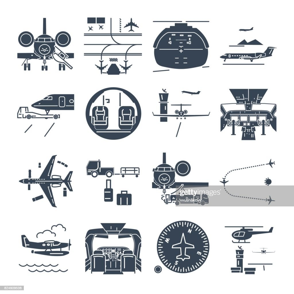 set of black icons airport and airplane, business jet