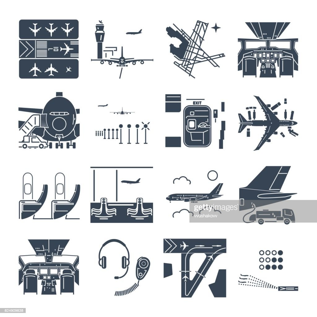 set of black icons airport and airplane, terminal, runway