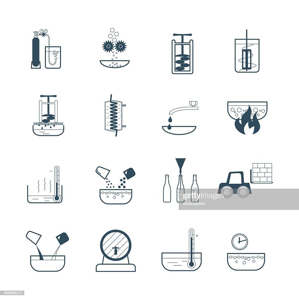 set of black icons beverage production process