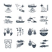 set of black icons commercial fishing