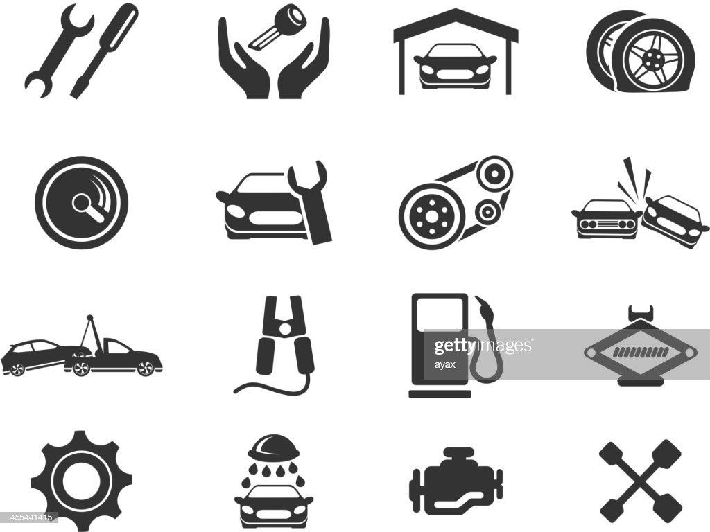 Set of black icons depicting auto service