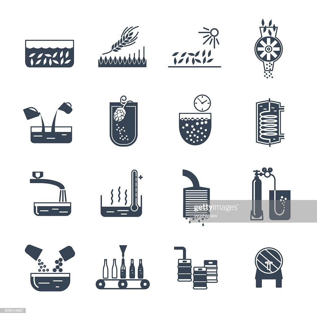 set of black icons manufacture of beer production process