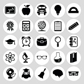 Set of black icons on white background Education