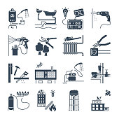 set of black icons public utility, electricity, water, heating