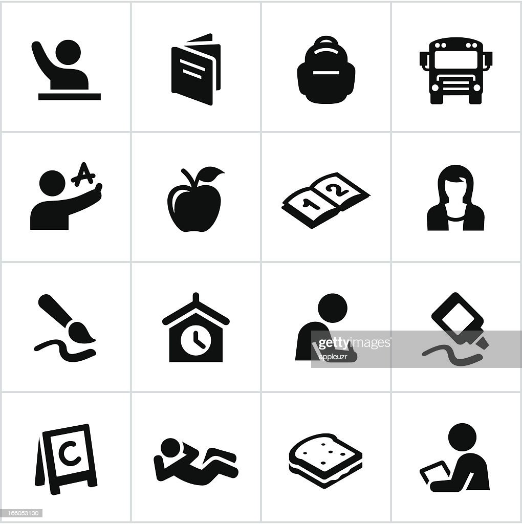 Set of black icons related to elementary school