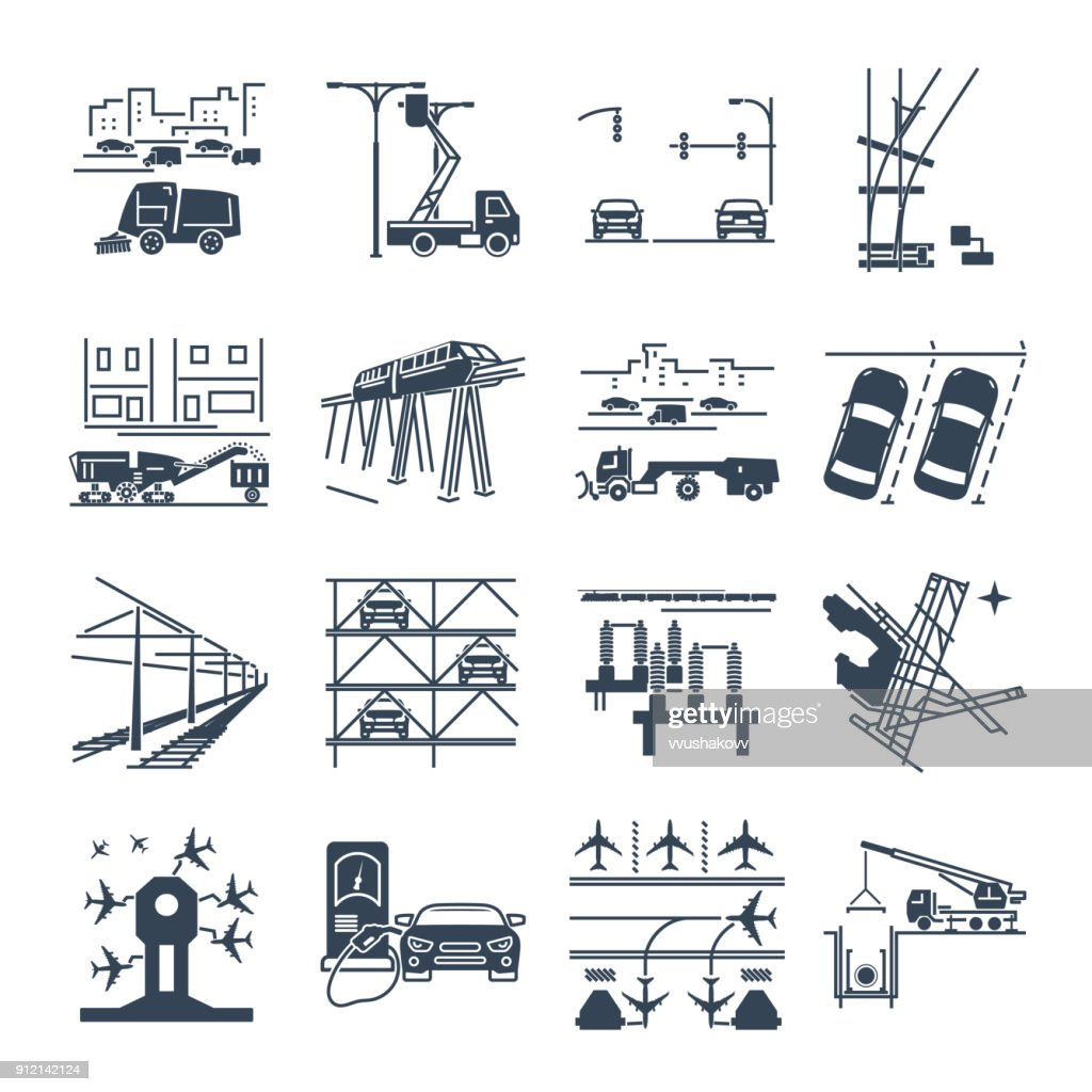 set of black icons transport infrastructure, road, air, train