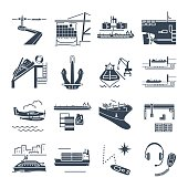 set of black icons water transport and sea port, merchant ship