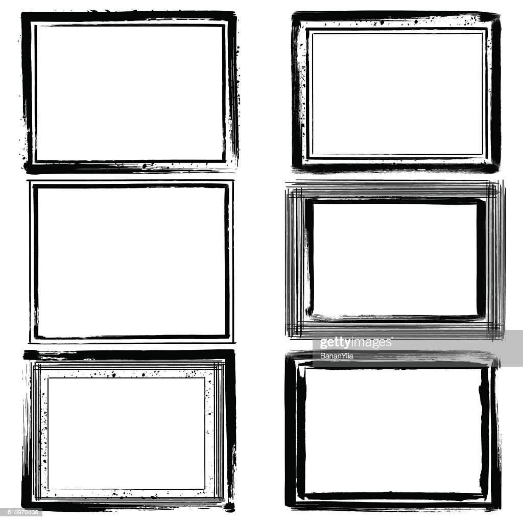 Set of black ink grunge frames on white background. Border