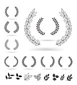 Set of black laurel wreaths isolated on white background.