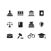Set of black law and justice icons