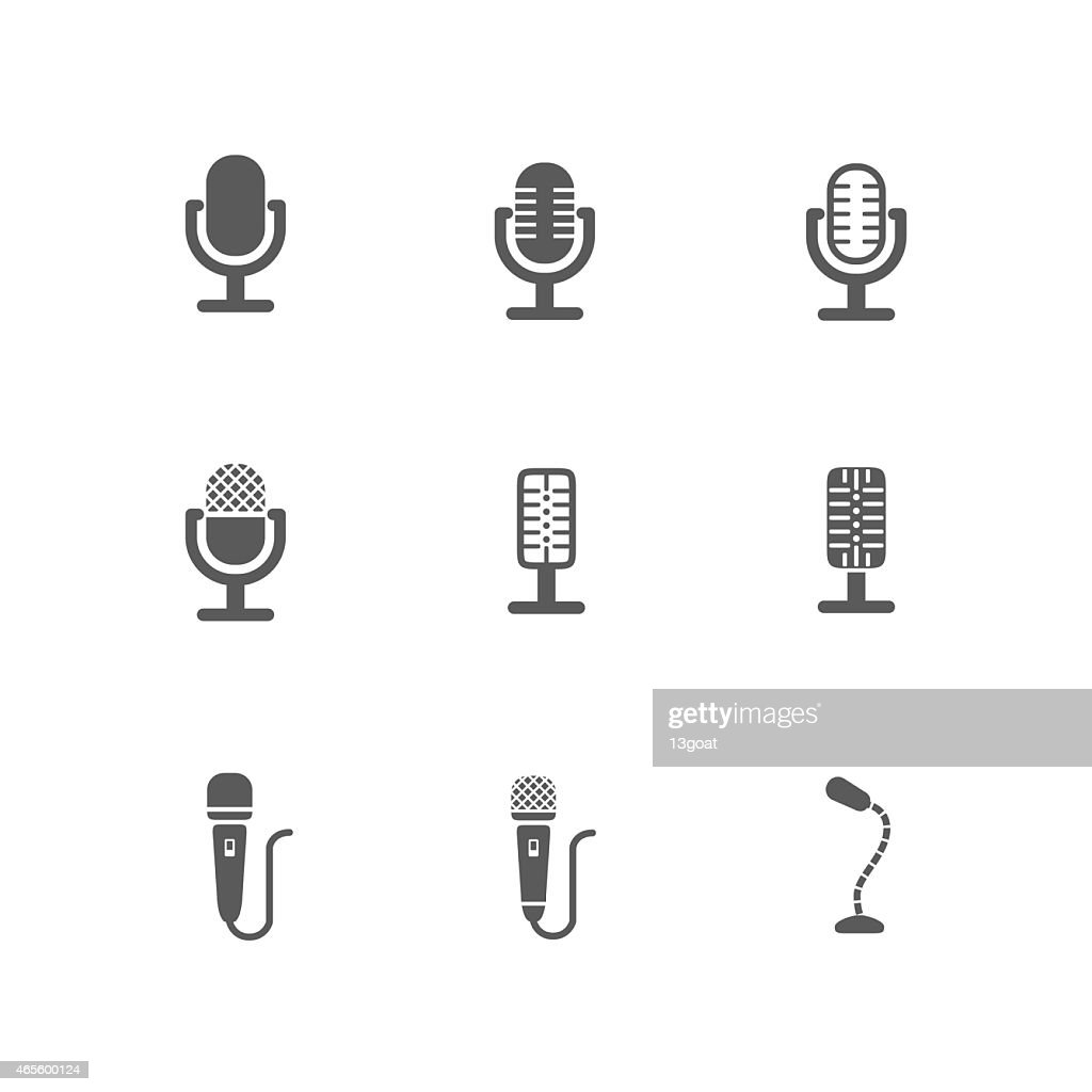Set of Black Microphone Icons Design