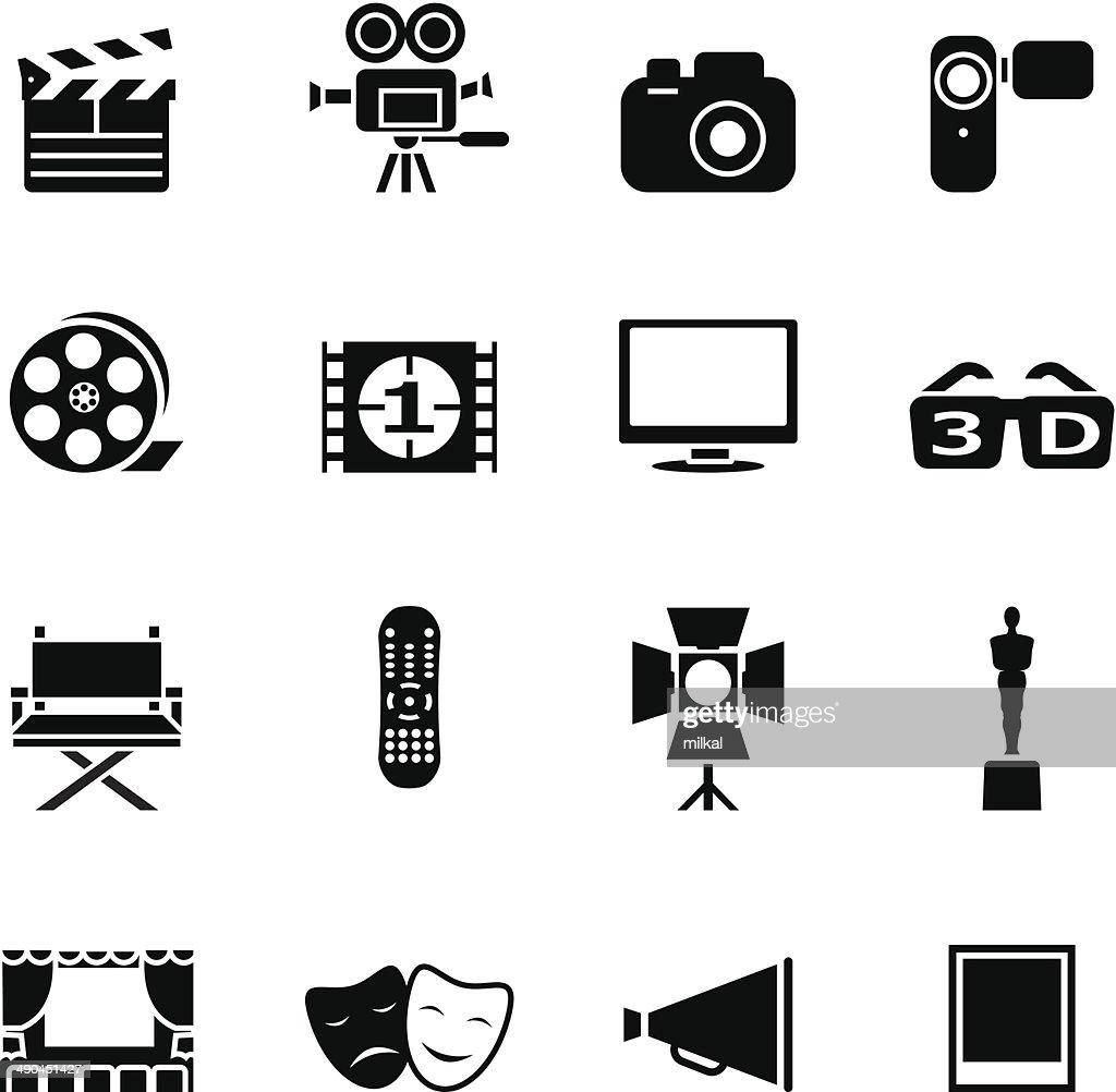 Set of black movie icons