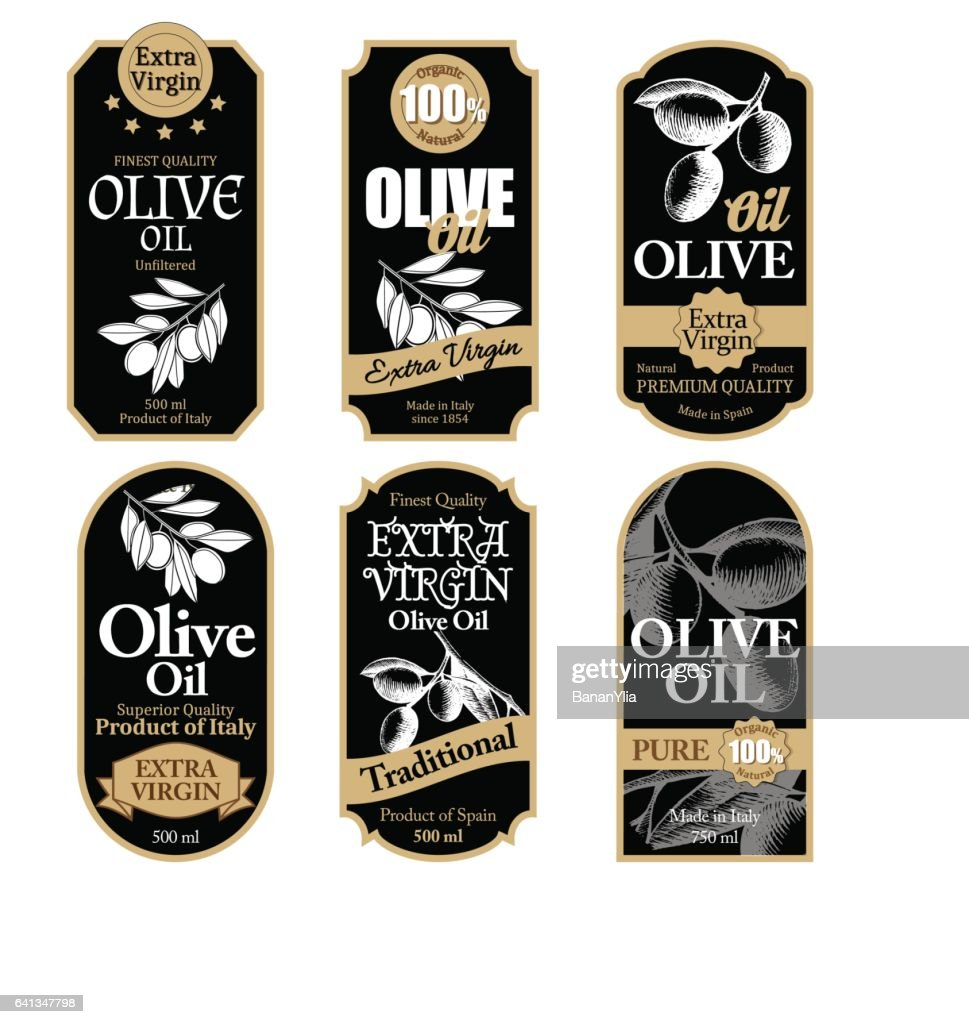 Set of black olive oil labels with hand drawn details