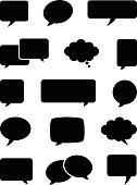 Set of black opaque speech bubble icons