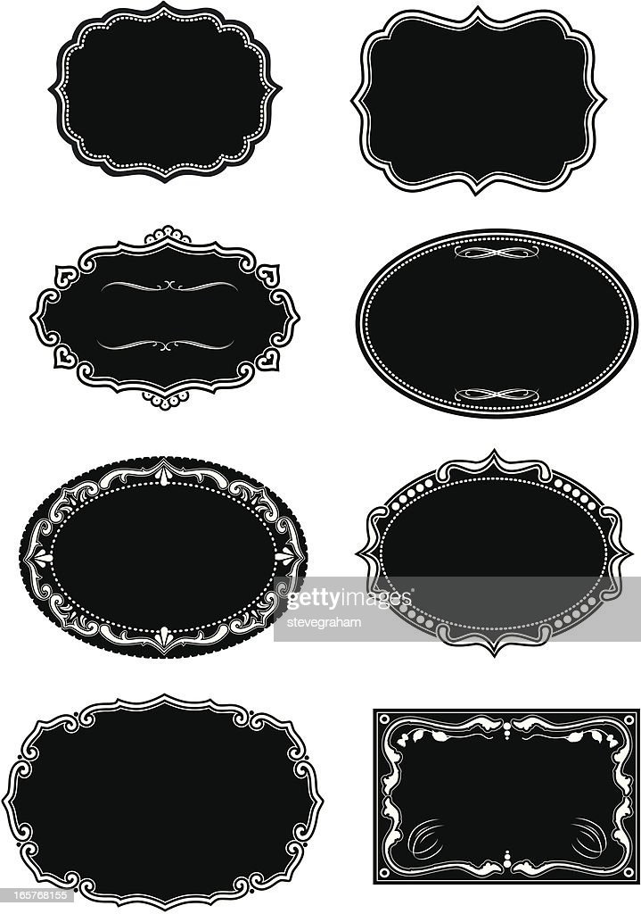 Set Of Black Ornate Frames And Panels Vector Art | Getty Images