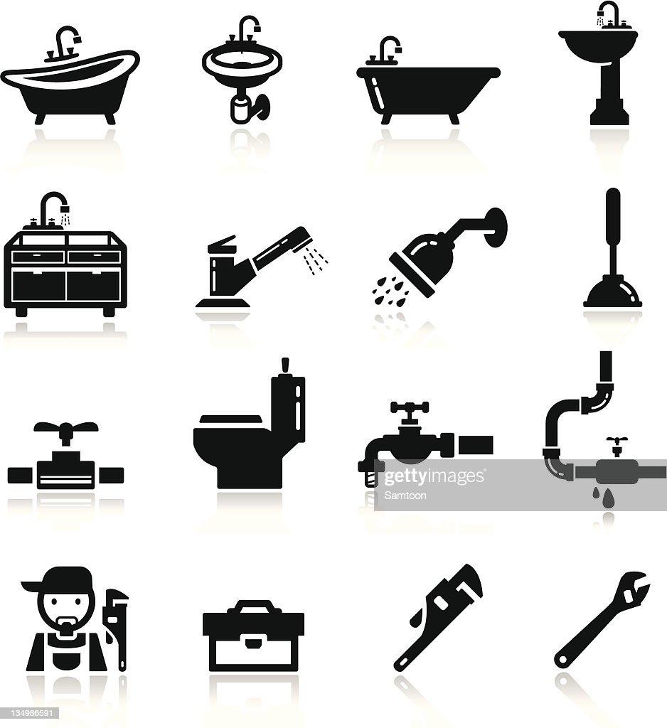 Set of black plumbing icons