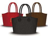 set of black, red and brown bags