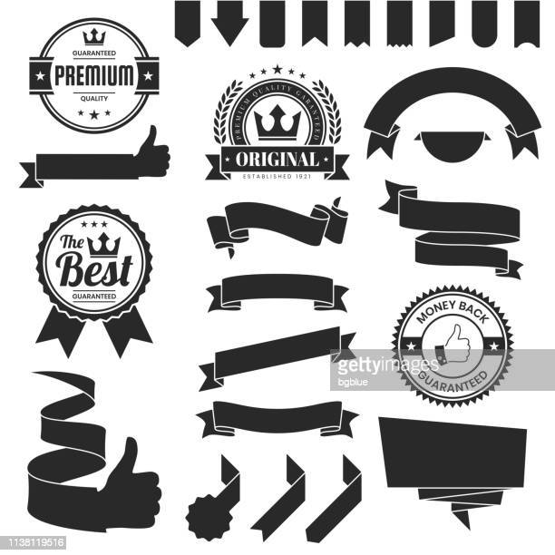 set of black ribbons, banners, badges, labels - design elements on white background - pennant stock illustrations