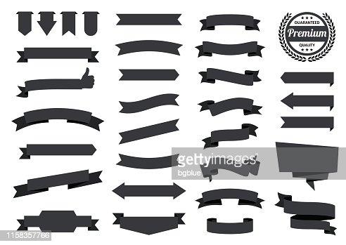 Set Of Black Ribbons Banners Badges Labels Design Elements