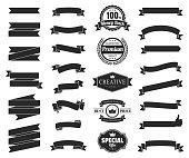 Set of Black Ribbons, Banners, badges, Labels - Design Elements on white background