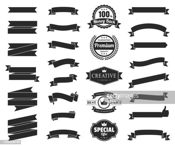set of black ribbons, banners, badges, labels - design elements on white background - placard stock illustrations
