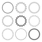 set of black round frames with ornament - vector