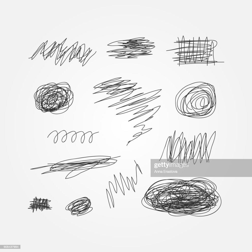 Set of black scribbles drawn by hand. Doodle, sketch, grunge.