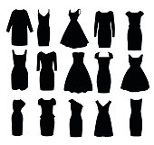 Set of black shapes of evening ball cocktail dresses vector